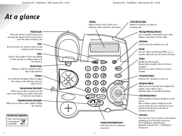 bt converse 425 user manual from telephones online