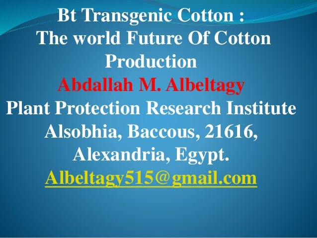 Bt Transgenic Cotton : The world Future Of Cotton Production Abdallah M. Albeltagy Plant Protection Research Institute Als...