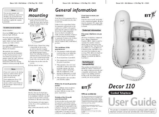 Bt decor 110 user manual from Telephones Online www.telephonesonlin…