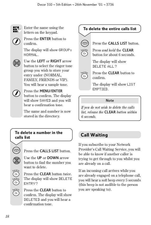 Bt decor 310 user Guide from Telephones Online www