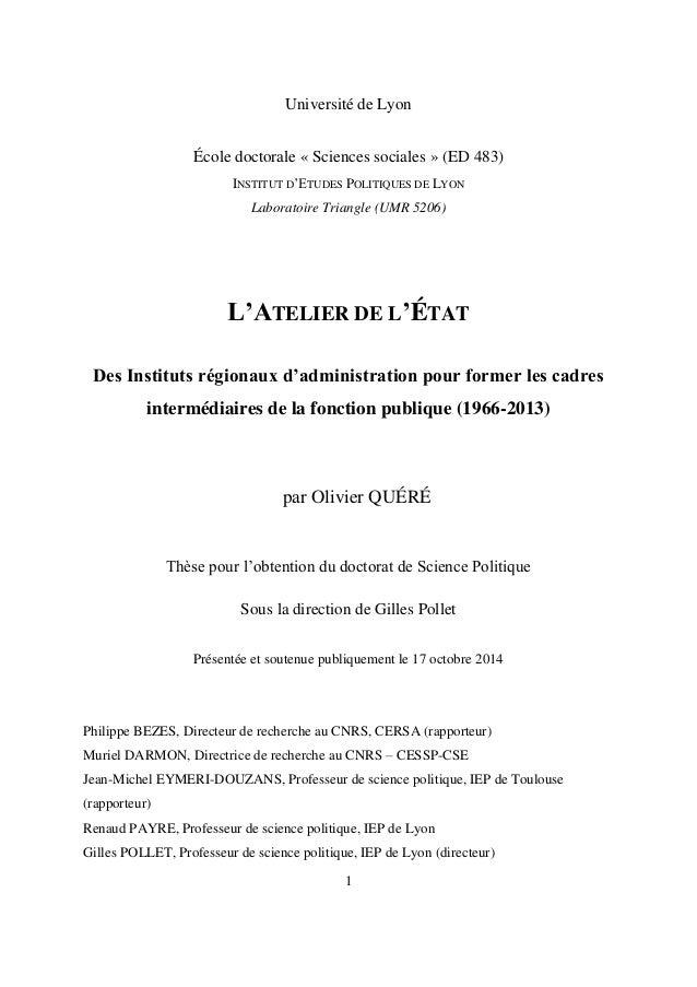 1 Université de Lyon École doctorale « Sciences sociales » (ED 483) INSTITUT D'ETUDES POLITIQUES DE LYON Laboratoire Trian...