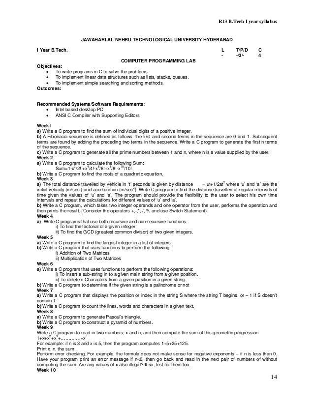 B Tech R 13 Regulation Syllabus Of JNTUH 2013