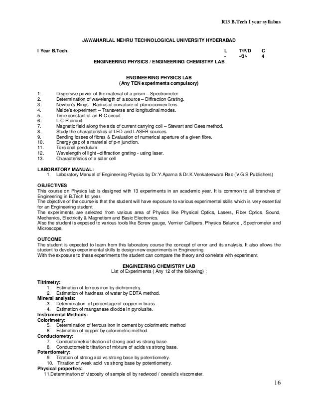B tech r 13 regulation syllabus of jntuh 2013 16 fandeluxe Image collections
