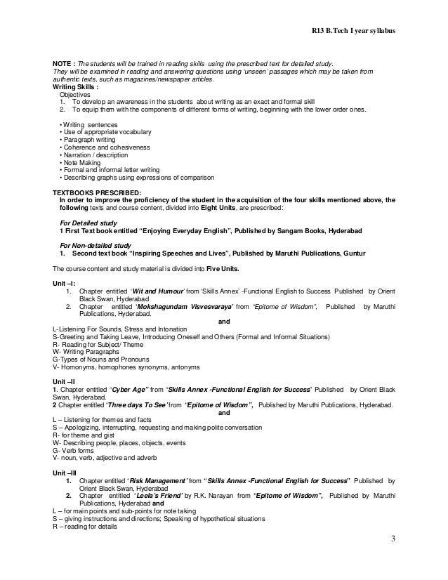 B Tech R-13 Regulation Syllabus of JNTUH 2013
