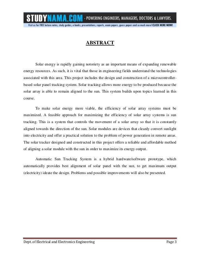 Btech eee major project report on automatic solar tracking