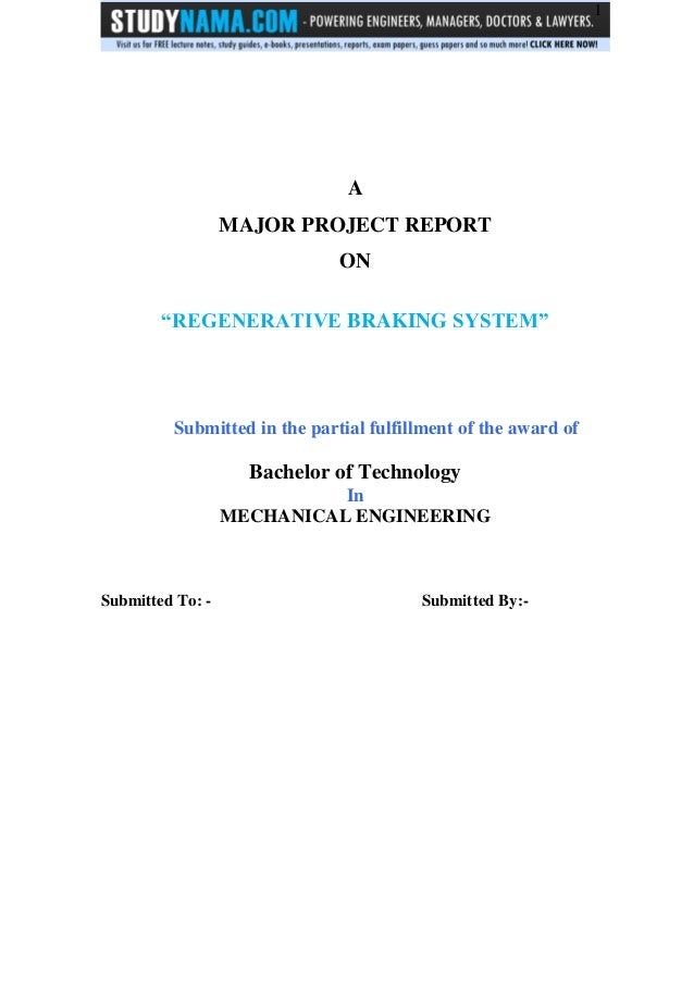 Btech me project on regenerative braking system - free pdf