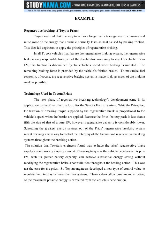 Btech me project on regenerative braking system - free pdf download