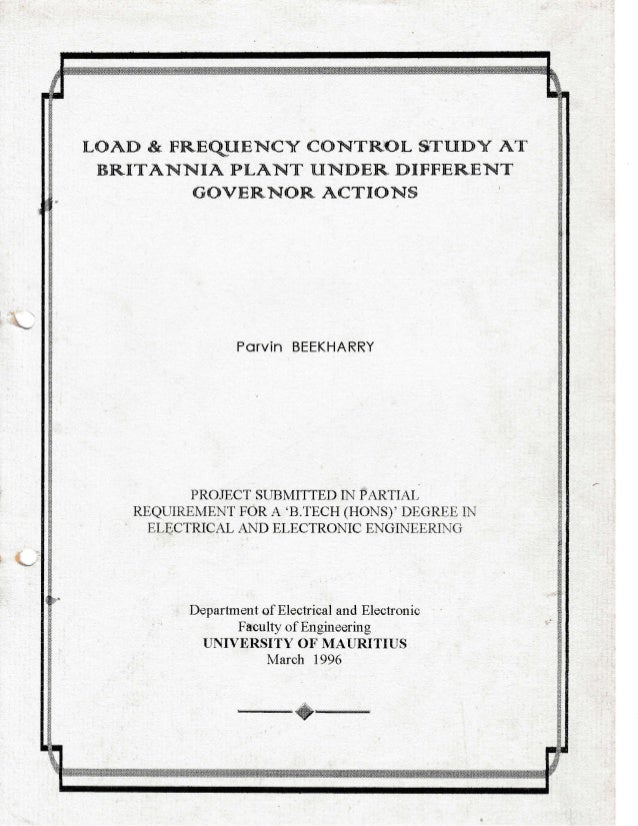thesis on load frequency control Load frequency control for a two area interconnected power system using robust genetic algorithm controller b venkata prasanth1, dr s v jayaram kumar2.