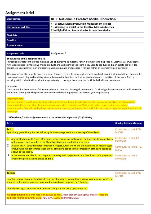 AssignmentbriefQualification BTECNationalinCreativeMediaProductionUnitnumberandtitle4–CreativeMediaPro...