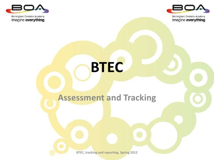 BTECAssessment and Tracking    BTEC, tracking and reporting. Spring 2012
