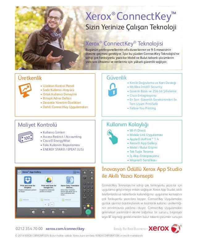 Sizin Yerinize Çalışan Teknoloji Xerox ConnectKey® ™ Bugünün profesyonellerinin ofis duvarlarının ve 9-5 mesaisinin ötesine...
