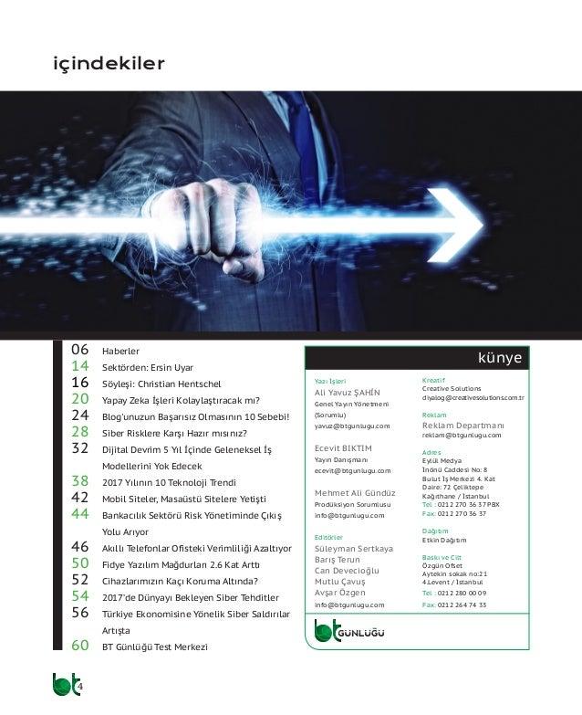 4 künye içindekiler 06 Haberler 14 Sektörden: Ersin Uyar 16 Söyleşi: Christian Hentschel 20 Yapay Zeka İşleri Kolaylaş...