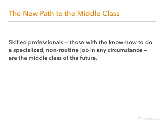 The New Path to the Middle Class Skilled professionals — those with the know-how to do a specialized, non-routine job in a...