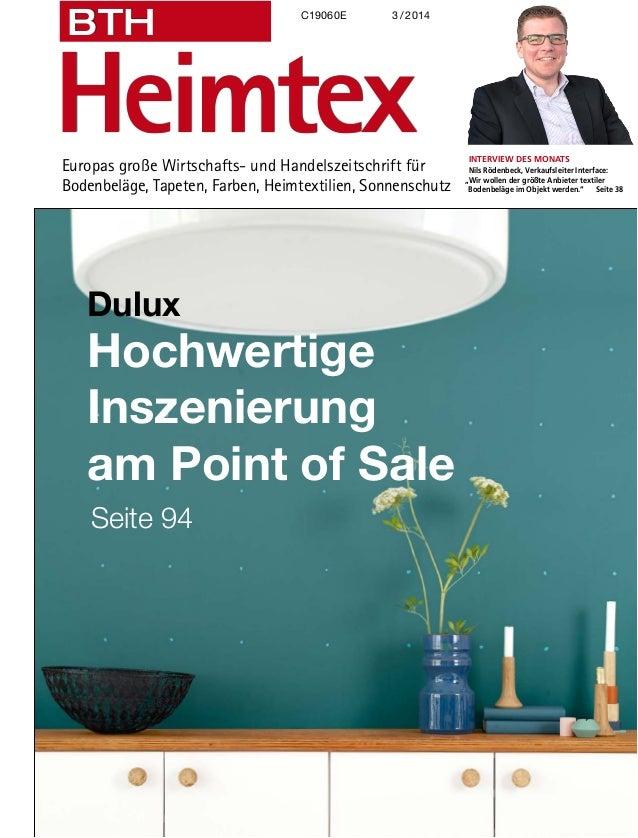 Europas große Wirtschafts- und Handelszeitschrift für Bodenbeläge, Tapeten, Farben, Heimtextilien, Sonnenschutz Heimtex BT...