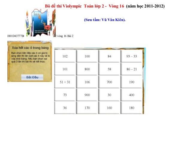 Bộ đề thi Violympic Toán lớp 2 - Vòng 16 (năm học 2011-2012) (Sưu tầm: Vũ Văn Kiên). H01D43777B0D Toán 2 vòng 16 Bài 2