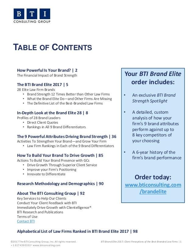 BTI Brand Elite 2017 Executive Summary – Best Executive Summary