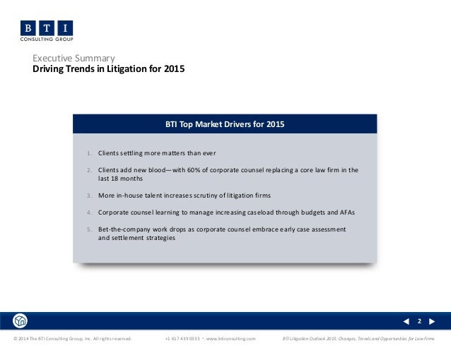 bti litigation outlook 2015 executive summary