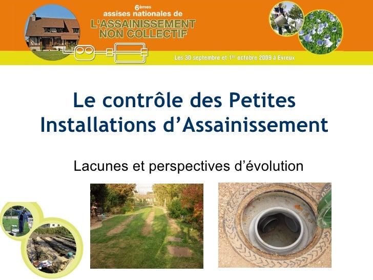 Le contrôle des Petites Installations d'Assainissement Lacunes et perspectives d'évolution