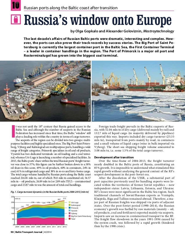 90 | Baltic Transport Journal | 4/2014 I t was not until the 18th century that Russia gained access to the Baltic Sea and ...