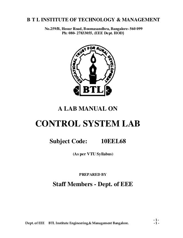 btl control system lab manual 10 eel68 rh slideshare net control system lab manual for ece control system lab manual for eee jntuh