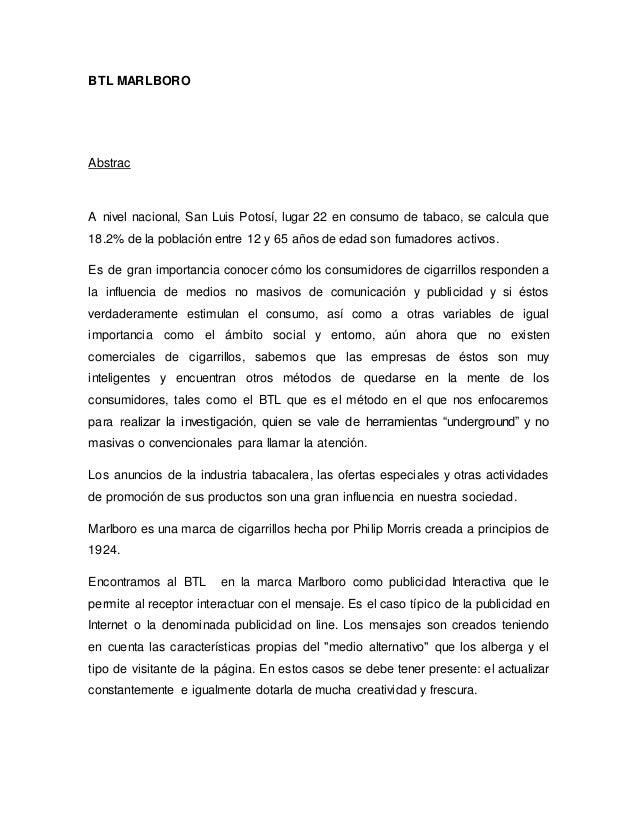 BTL MARLBORO Abstrac A nivel nacional, San Luis Potosí, lugar 22 en consumo de tabaco, se calcula que 18.2% de la població...