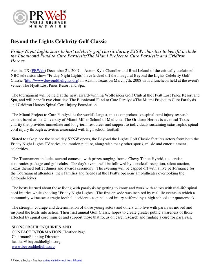 Beyond the Lights Celebrity Golf Classic Friday Night Lights stars to host celebrity golf classic during SXSW, charities t...