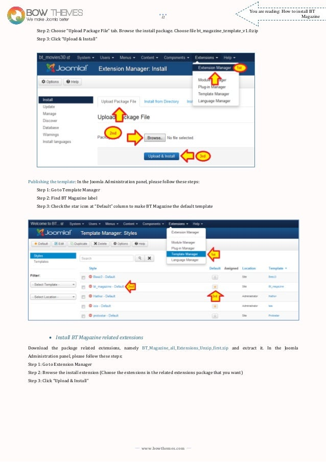 Joomla tutorials to install and customize BT Magazine Template versio…