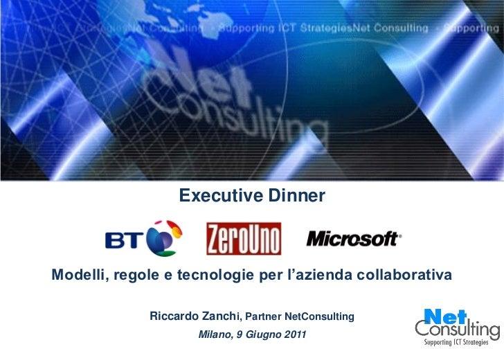 Executive DinnerModelli, regole e tecnologie per l'azienda collaborativa             Riccardo Zanchi, Partner NetConsultin...