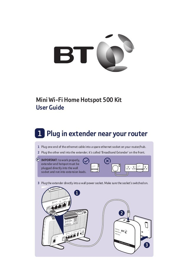 Mini Wi-Fi Home Hotspot 500 Kit User Guide 1 	 Plug in extender near your router 2 1 3 1	 Plug one end of the ethernet cab...
