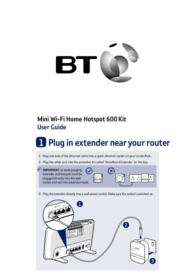 Mini Wi-Fi Home Hotspot 600 Kit User Guide 1 	Plug in extender near your router 2 1 3 1	 Plug one end of the ethernet cabl...