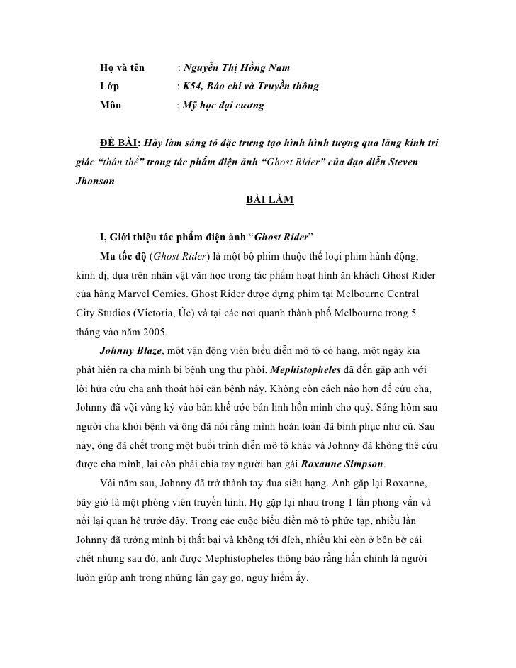 Họ và tên         : Nguyễn Thị Hồng Nam     Lớp              : K54, Báo chí và Truyền thông     Môn              : Mỹ học ...