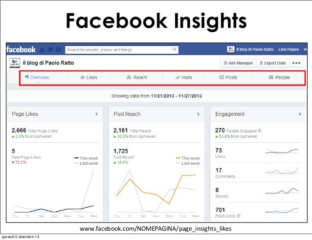 Facebook Insights  www.facebook.com/NOMEPAGINA/page_insights_likes giovedì 5 dicembre 13