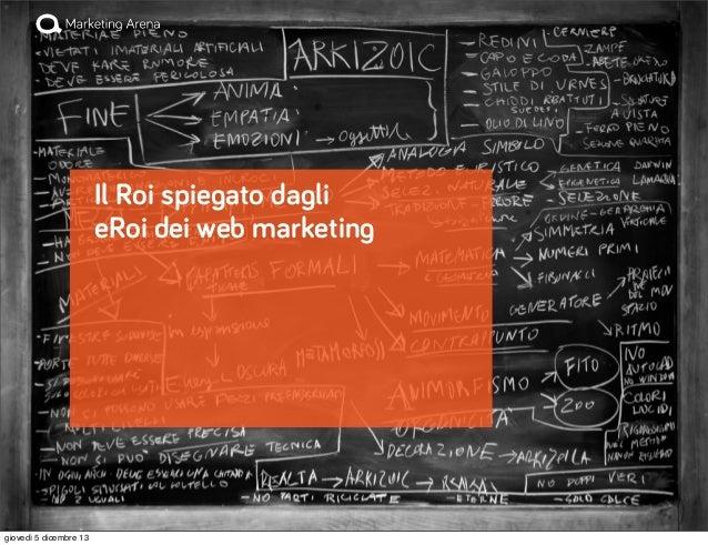 Il Roi spiegato dagli eRoi dei web marketing  giovedì 5 dicembre 13