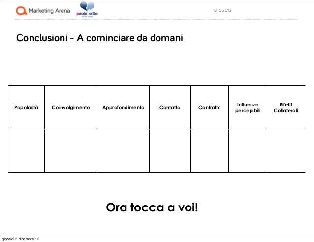 BTO 2013  Conclusioni - A cominciare da domani  Popolarità  Coinvolgimento  Approfondimento  Contatto  Ora tocca a voi! gi...
