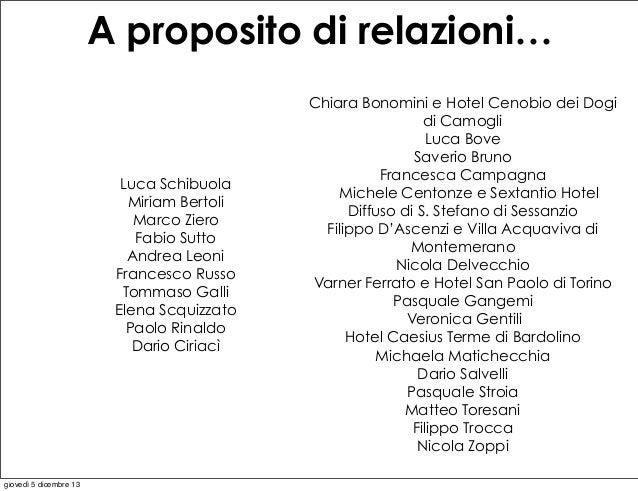 A proposito di relazioni…  Luca Schibuola Miriam Bertoli Marco Ziero Fabio Sutto Andrea Leoni Francesco Russo Tommaso Gall...