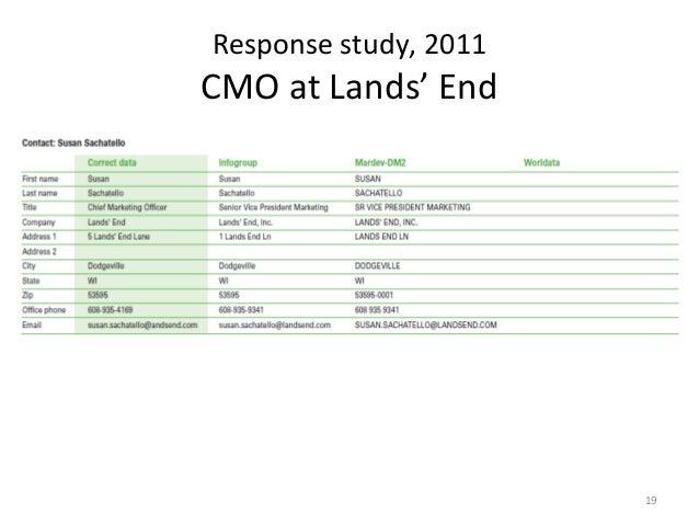 Response study, 2011CMO at Lands' End                       19