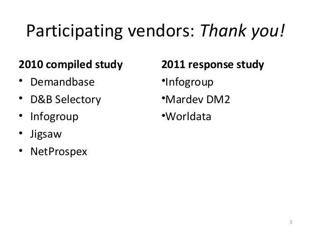 Participating vendors: Thank you!2010 compiled study   2011 response study• Demandbase          •Infogroup• D&B Selectory ...
