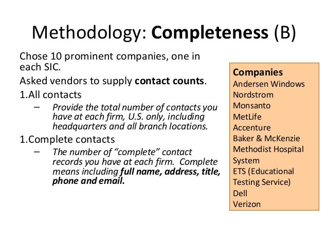 Methodology: Completeness (B)Chose 10 prominent companies, one ineach SIC.                                          Compan...