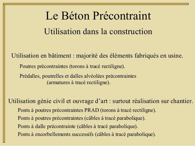 Utilisation dans la construction Le Béton Précontraint Utilisation en bâtiment : majorité des éléments fabriqués en usine....