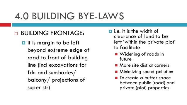 Btp 4 bye laws for Construction rules and regulations