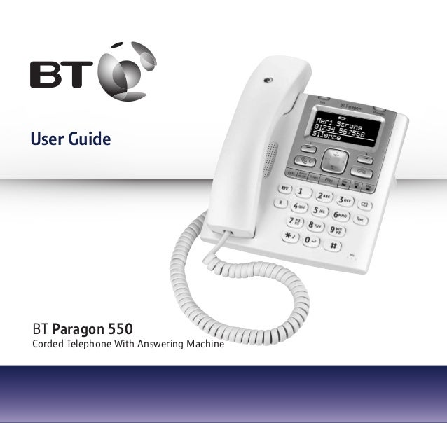 User Guide BT Paragon 550 Corded Telephone With Answering Machine