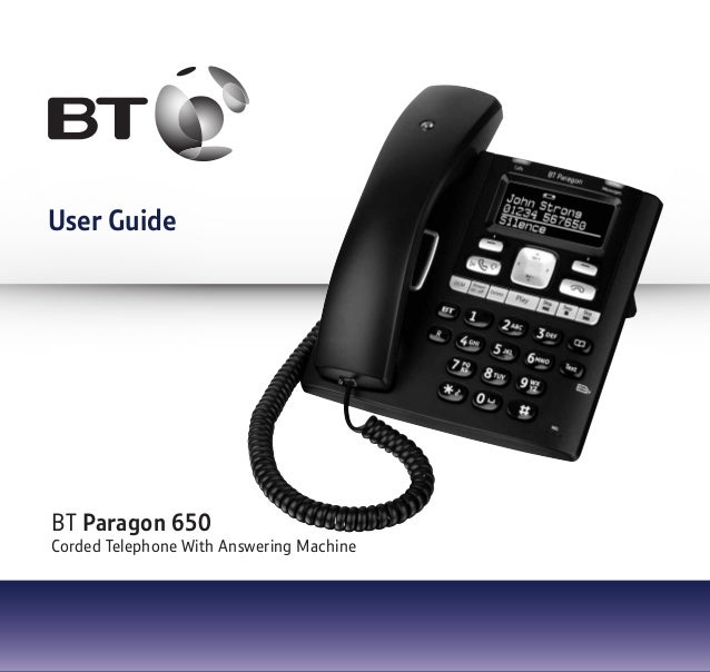 BT Paragon 650 Corded Telephone With Answering Machine User Guide