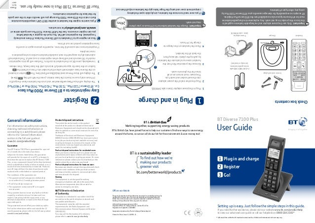 User Guide BT Diverse 7100 Plus Offices worldwide The services described in this publication are subject to availability a...