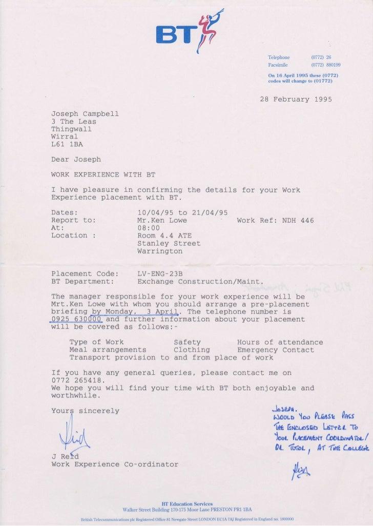 Bt Plc Work Experience Certificate Spring 1995