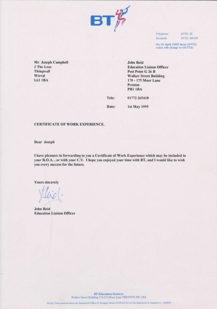 Bt plc work experience certificate spring 1995 for Joot work
