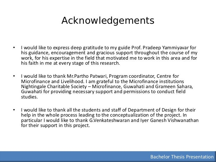 Acknowledgment for thesis