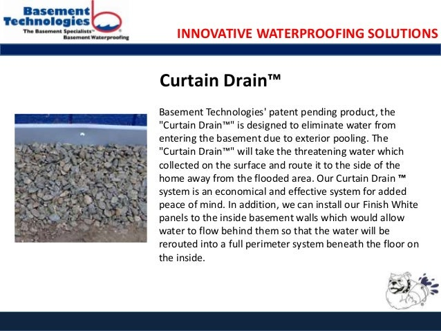 Basement technologies product innovation showcase for Basement curtain drain