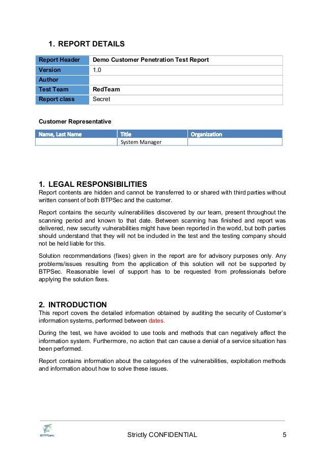 Btpsec Sample Penetration Test Report