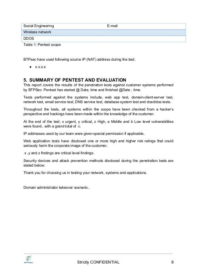 testing report Penetration