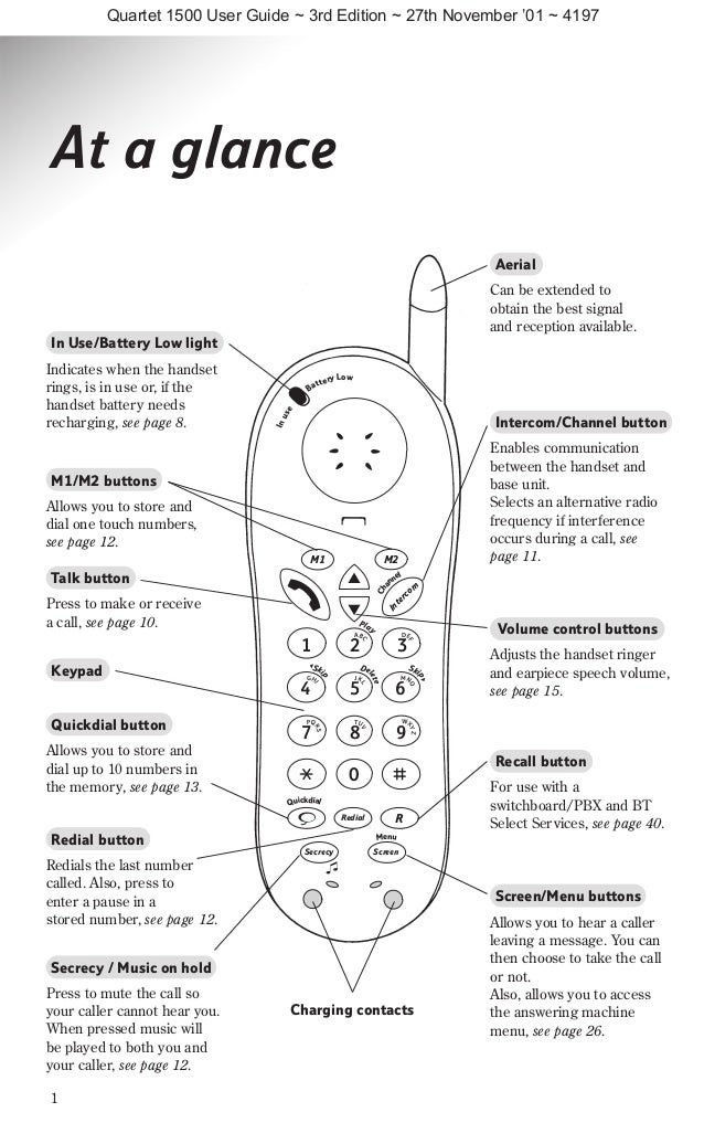 Bt quartet 1500 User Guide from Telephones Online www